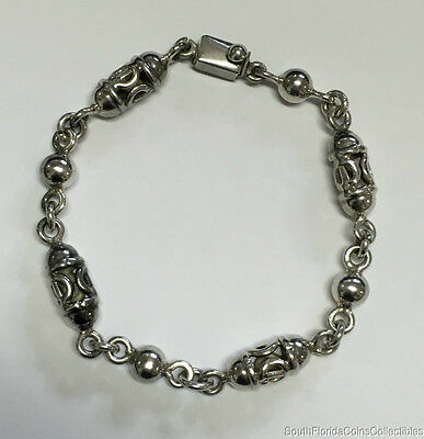 """Estate Jewelry Ornate Oval Link Ladies Bracelet Sterling Silver Mexico 8"""" Long"""