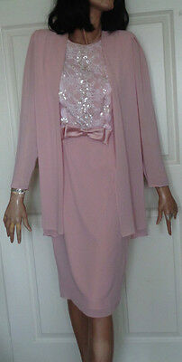 Vintage Pink Polyester Ursula of Switzerland Party Dress Sequins 8 B38