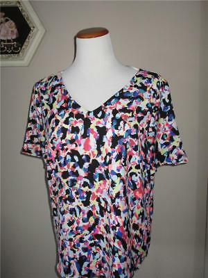 New With Tags Metaphor Women's Size L Colorful Print V-Neck & V-Back Top Blouse