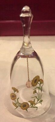 """Vintage AVON: 1986 24% Lead Crystal """"October-Birthday Bell""""  with Sunflowers"""