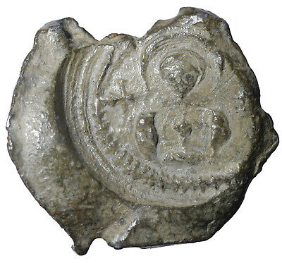 Byzantine Empire Original Lead Seal Romanos 6th century Costantinople #B7