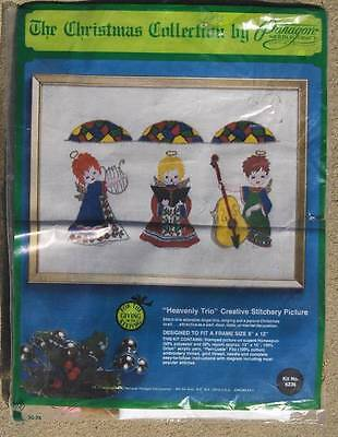 """ANGELS PARAGON CREWEL KIT~ """"HEAVENLY TRIO"""" #6236~FITS 9""""x12"""" FRAME"""