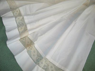 Antique Vintage Victorian Bed Sheet-Hand Crochet Lace-Flat Sheet-RIBBON Motif