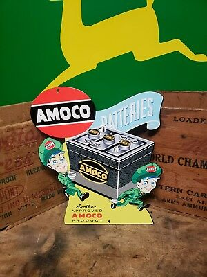 Die cut Amoco battery sign Automobile  Engine Vehicle  Muscle car gas oil gas