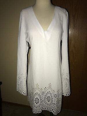 33285183b3 NWOT Kenneth Cole Reaction Womens Laser cut dress cover up Swimsuit WHITE  sz L