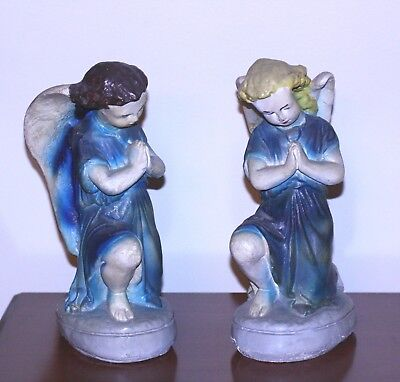 "VINTAGE 1940'S CHRISTMAS LARGE CHALKWARE PLASTER NATIVITY ANGELS HTF 11 1/4"" t"