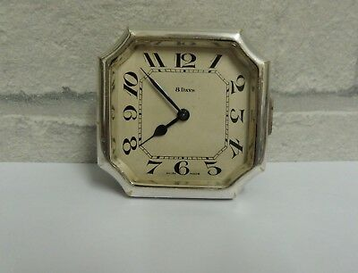 Vintage / Antique Car Time Clock Swiss Made 8 Day Movement For Repair / Spares