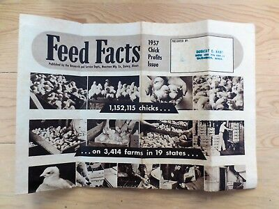 1957 Feed Facts Chick Profit Issue Newspaper Magazine Farm Chickens Moorman IL