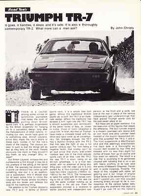 1975 Triumph Tr7  ~  Great 3-Page Road Test / Article / Ad