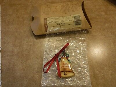 Longaberger 2003 Merry Christmas Tie On #27872- NEW