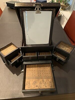 Chinese Antique Jewelry & Makeup Chest of Drawers Beveled Mirror & Calligraphy