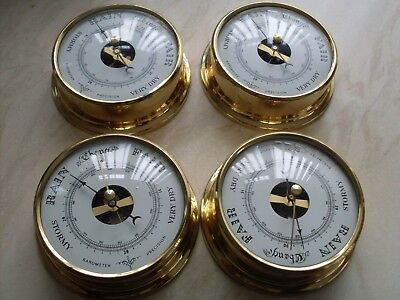 4 boat barometer in brass surround case ( boxed )