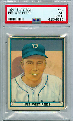 1941 Play Ball Pee Wee Reese Rookie 54 Psa 3 Very Good! Free Ship! Hall Of Fame!