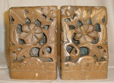 Antique Pair Carved Bookends Chinese ? Soapstone ? Vintage Leaves Flowers Unique
