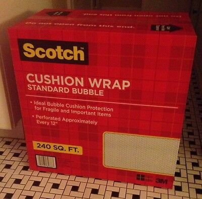NEW 3M Scotch 3/16 Bubble Cushion Wrap 240 sq ft Roll Perforated w/Dispenser Box