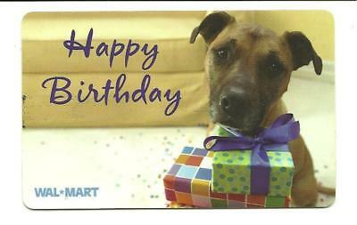 Walmart Happy Birthday Cute Dog w/ Presents Gift Card No $ Value Collectible