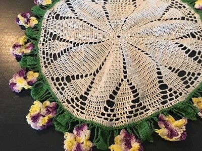 """Hand Crocheted Doily Tablecloth Fancy 12""""   Vintage Green Purple Yellow White"""