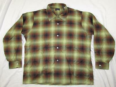 Vtg NOS 50s 60s Van Heusen Rayon Shadow Plaid Neck Loop Mod Hollywood Shirt XL