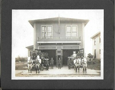 Cabinet Photograph of Horse Drawn Fire Apparatus & Station – Bellingham WA? 1900
