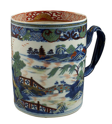 Fine Large 18thC Antique Chinese Export Porcelain Mug w/ Figural Handle