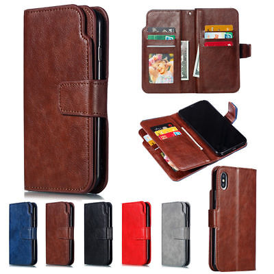 9 Card Slot Luxury Leather Wallet Flip Case Stand Cover For iPhone XS Max XR 7 8