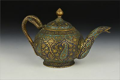 19th Century Persian Islamic Kashmir Gilt Bronze Enamel Teapot