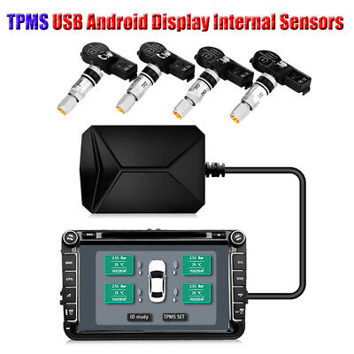 USB Android Display TPMS Car Tire Pressure Monitoring System Internal Sensors