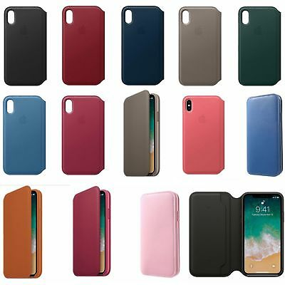 For Apple iPhone X/XS/XR/Xs Max Genuine Leather Folio Flip Wallet Case Cover US