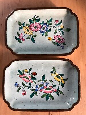 Old Vintage Antique Small Blue/green/pink/yellow Signed Chinese Enamel Trays