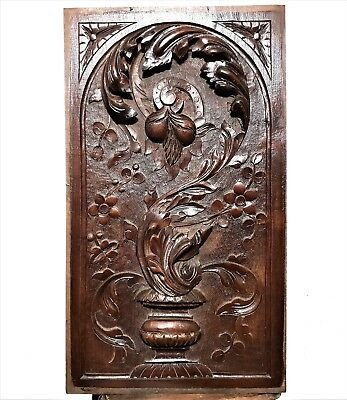 Solid gothic scroll leaves panel Antique french wooden architectural salvage