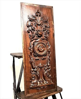 Gothic rosace scroll leaves panel Antique french wooden architectural salvage