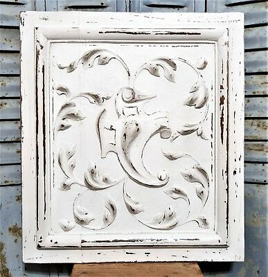 Gothic scroll leaves panel Antique french shabby painted architectural salvage