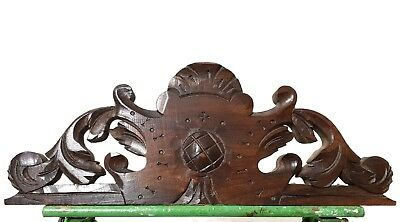 Gothic scroll leaves pediment Antique french hand carved wood salvaged furniture