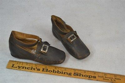 shoes child early leather buckles 19thc  strap pre Civil War original antique vg