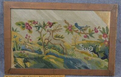 needle point  burlap deer dog birds tree framed 18th 19thc original early 1800
