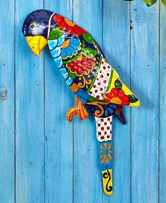 """Bright Colorful METAL PARROT WALL HANGING Parrothead Luau Tropical Decor 17"""" LS"""