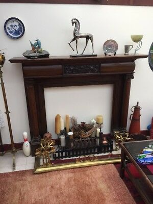 Antique architectural Fire place Surround - Large Mahogany With Pillars