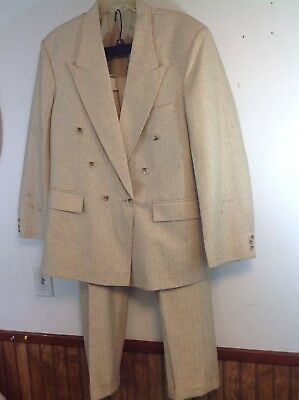 """VINTAGE 1980's TAN METALLIC SUIT DOUBLE BREASTED APROX 44- 46L 33"""" WAIST"""