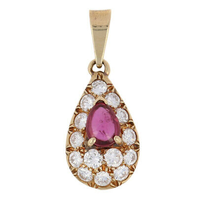 1.40ctw Pear Cabochon Ruby & Diamond Cartier Pendant - 18k Yellow Gold Designer