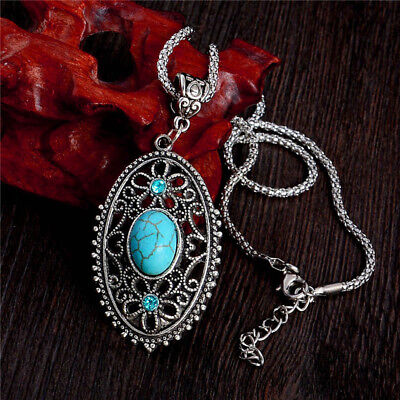 19 style Vintage Women's Tibetan Silver Turquoise Beads Pendant Necklace Chain