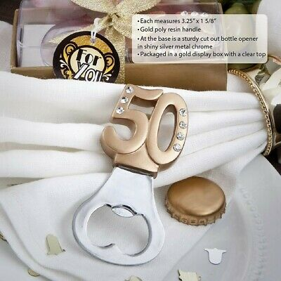 25 Gold Bottle Opener 50th Birthday Party 50th Anniversary Party Favors