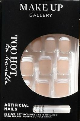 Make-Up Gallery Hot French Tip False Nails 24 Piece With Glue New