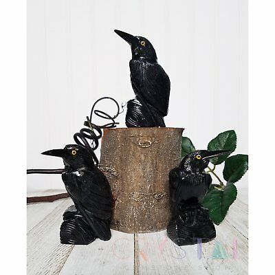 Black Onyx Raven Carved Statue - Mini, Small, Medium