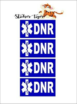 DNR - Do Not Resuscitate - Set of 4 Badge Stickers Decals Medical
