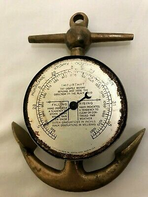 "Vintage Barometer Brass Ship Anchor 6"" Swift and Anderson"