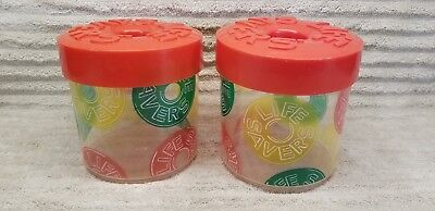 Vtg - Life Savers - Candy Plastic Container Jars with Screw on Lid - Set of 2