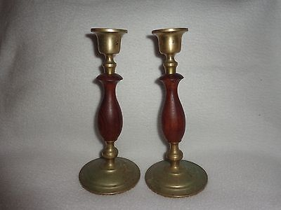 """Vintage Pair Of Solid Brass & Turned Wood Heavy 7 3/4"""" Tall Candlesticks"""