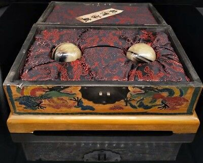 Chinese Antique Hand-carved horn fitness ball + Painted dragon box
