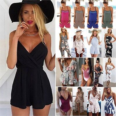 Women Strappy Rompers Jumpsuit Shorts Party Playsuit Summer Beach Mini Dress