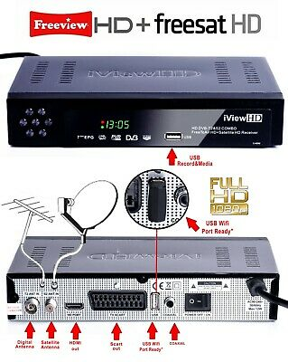 FULL HD COMBO Freeview HD+ FREEsat HD Receiver + HD RECORDER TV Set Top Box 3n1